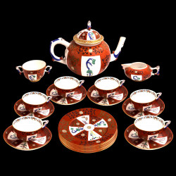 Herend service chinois ocre rouge 6 tasses