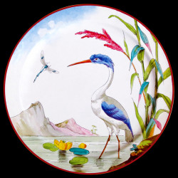 "Tin plate ""The Birds"" Buffon Great blue heron"