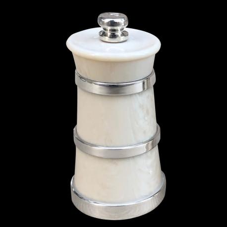 Ivorine salt mill and sterling