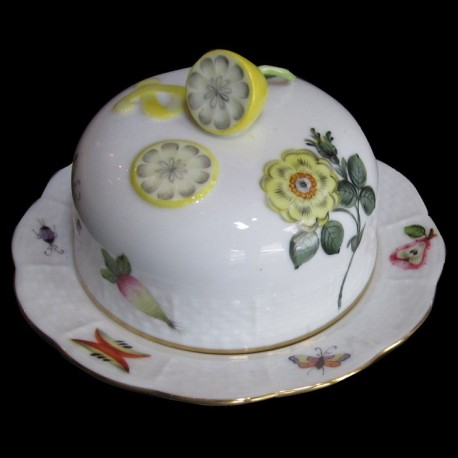 Herend Butter Dish, porcelain painted by hand