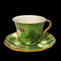 "Tasse à thé + sous tasse verte ""Georges Sand"""