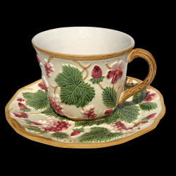 """Majolica ivory and red fruits cup and saucer """"George Sand"""""""