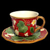 "Tasse à déjeuner et sous tasse faïence rouge ""George Sand"""