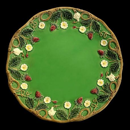 "Majolica green desert plate ""Georges Sand"""