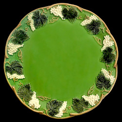 """Majolica green table plate """"Georges Sand"""""""
