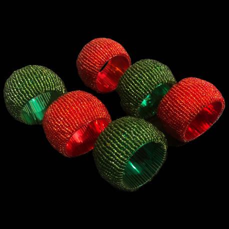 Set de 6 ronds de serviette perlées Noël