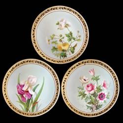 11 dinner plates Flowers in Minton porcelain, 1874-1884