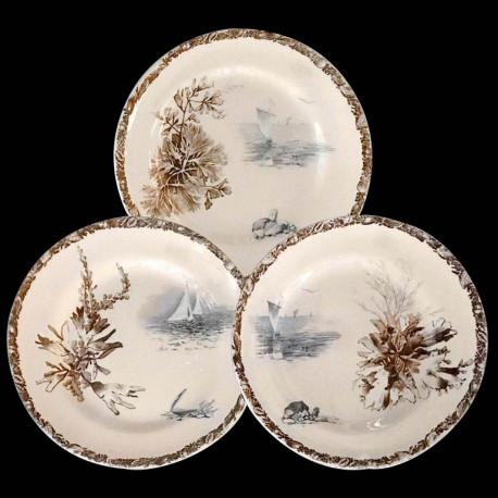 57 Dinner Plates, in French Faience Choisy-le-Roi, 19th Century