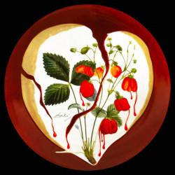 Plat rond signé Salvador DALI Coeur de fraises porcelaine peint main N°351 D 34,5cm fond jaune