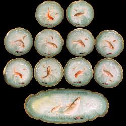 10 assiettes avec plat poissons fond mer bleu turquoise Limoges XIXe