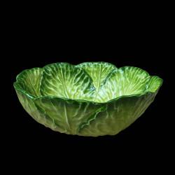 Assiette creuse faïence chou vert