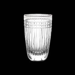 Verre Gobelet haut cristal taillé et platine