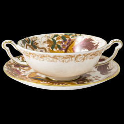 Royal Crown Derby Aves Gold Cream Soup Cup & Saucer