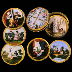 """6 assorted tin glass coasters with a tin box """"Romantic scenes"""""""