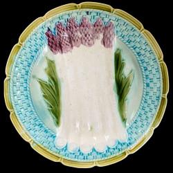 Assiette à asperges bord osier turquoise barbotine