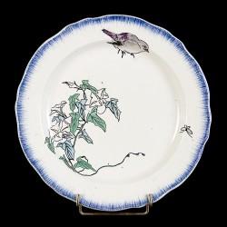 Bracquemond Moineau & Campanule blanc assiette D 24,5 cm