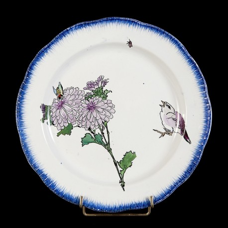 Bracquemond Pink Chrysanthemum & Sparrow plate D 25 cm
