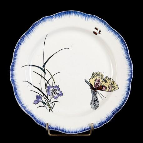 Bracquemond Cornflower & Butterfly plate D 24,5 cm