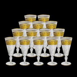 Flûtes à champagne cristal Baccarat Eldorado XIXe H 17 cm les 14