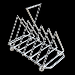 Silver-plated Crossed Triangles Toast rack Christopher Dresser's reissue