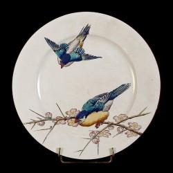 Couple d'oiseaux et branche de cerisier japonais assiettes D 25,5 cm
