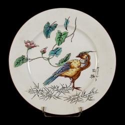 Oiseau fauve sur une patte & Rosier assiette D 25,5 cm