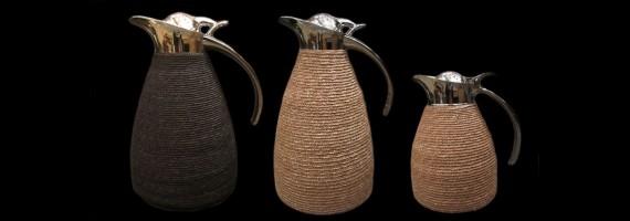 Thermos inox gainé paille picot habillage fait en France à la main