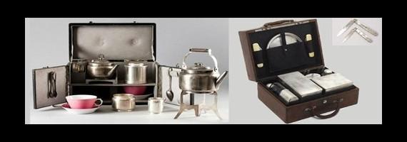 Voyage : valise à thé, pique-nique, ...