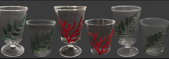 Coral, fern, olive tree glass